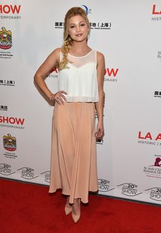 oliva holt in a topshop top and amen skirt at the la art show opening night.