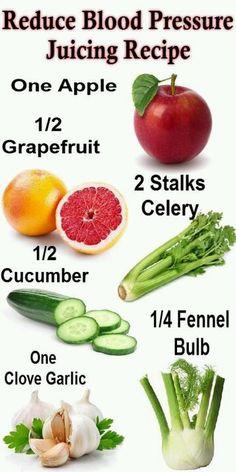 Juicing vegetables - reduce blood pressure recipe