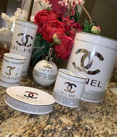 Home Decor – Page 2 – Giant Shoe Boxes Bathroom Accessories Sets, Bathroom Sets, Home Decor Accessories, Bathrooms, Glamour Décor, Chanel Decoration, Chanel Bedroom, Chanel Bedding, Craft Ideas