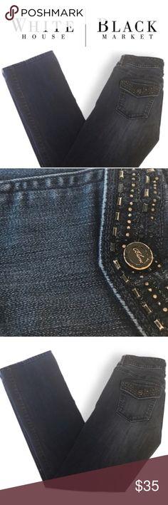 1b32421f6b47a WHBM dark denim bootleg boot cut blue jeans Size 2 WHBM dark denim bootleg  boot cut