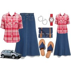 """run errands"",  casual, denim skirt outfit"