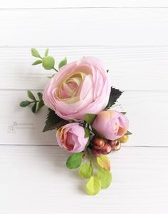 Pink boho flower comb Rustic hair Beach Wedding Bridal