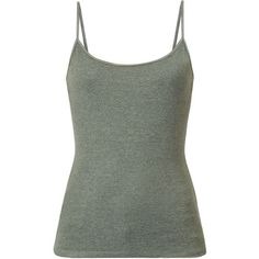 Khaki Plain Cami (170 INR) ❤ liked on Polyvore featuring tops, tank tops, cotton camisole, green tank top, strappy tank top, cotton cami and camisole tank tops