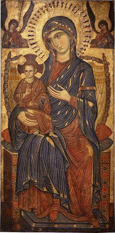 Byzantine Icon- mosaic Byzantine icon of Madonna and Child Enthroned, Pisa (?), c.1250-75