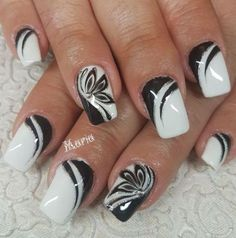 Started With Innovative Nail Art Designs Great black and white nail art designGreat black and white nail art design Black Nail Designs, Colorful Nail Designs, Gel Nail Designs, Pretty Nail Art, Beautiful Nail Art, Stylish Nails, Trendy Nails, Black And White Nail Art, Black Glitter