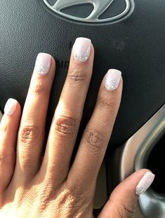 Nail art is a very popular trend these days and every woman you meet seems to have beautiful nails. It used to be that women would just go get a manicure or pedicure to get their nails trimmed and shaped with just a few coats of plain nail polish. Cute Nails, Pretty Nails, Silver Nails, White Nails With Glitter, Pale Pink Nails, Prom Nails, Wedding Gel Nails, Beach Wedding Nails, Wedding Nails Design
