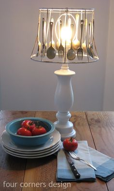 I am totally doing this (with an ugly lampshade I have) and putting it on my buffet!