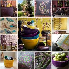 Purple, green, yellow, and blue - especially loving the photo in the middle!