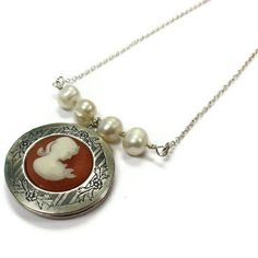 Cameo Locket Necklace Pearl Bead Bar Silver by jewelrybycarmal, $50.00