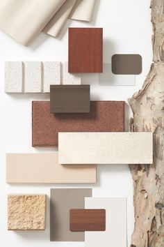 When building a home, you are looking for unique solutions that suit your lifestyle, so naturally, the materials you decide to use are an important and enduring choice. Colour Pallete, Colour Schemes, Color Trends, Brick Material, Material Board, Material Design, Mood Board Interior, Regal Design, Mood And Tone