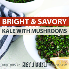 Kale doesn't have to be bitter and boring! This recipe packs tons of flavor thanks to savory mushrooms and acidic lemon! Kale doesn't have to be bitter and boring! This recipe packs tons of flavor thanks to savory mushrooms and acidic lemon! Kale Recipes Vegan, Cooked Kale Recipes, Chicken And Kale Recipes, Healthy Eating Recipes, Vegan Dishes, Vegetable Recipes, Keto Recipes, Veggie Food, Recipes Dinner
