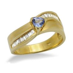 This classic design features a lovely 0.20ct trilliant shape tanzanite gemstone in a 18k yellow gold 3 prong setting. The baguette diamonds are H/I color and I1/I2 clarity.Different ring sizes may be available. Please inquire for details. $343.00