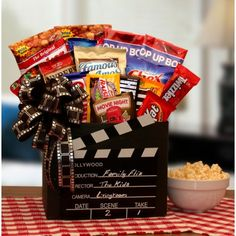 More - Family Flix Movie Gift Box. Family Flix Movie Gift BoxLet the Movie Buff in your life choose their own movie tonight! This is the ultimate Movie night gift box. Family Gift Baskets, Wine Gift Baskets, Gourmet Gift Baskets, Gourmet Gifts, Family Gifts, Gift Baskets For Him, Popcorn Gift Baskets, Family Gift Ideas, Cheap Gift Baskets