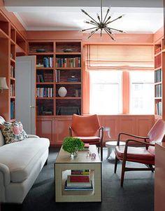 sputnik, living room, salmon, peach, House Beautiful