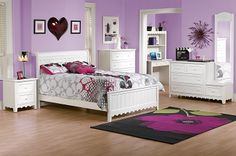 The Sweetdreams Collection - White - Age Appropriate. Finding furniture for children that both appeals to the young and is sophisticated enough for teens can be a challenge, but our Sweetdreams bed collection walks that fine line deftly. Purple Bedding, White Bedding, Bedroom Color Schemes, Bedroom Colors, White Bedroom Furniture, Kids Furniture, Dream Bedroom, Girls Bedroom, Bedroom Ideas