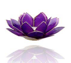 Lotus sfeerlicht violet 7e chakra goudrand - 13.5 cm -