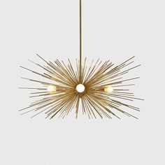 Mid Century Modern Large Gold Brass Starburst Chandelier 5