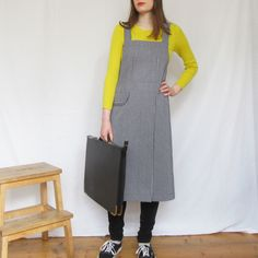 Carefully designed and handmade - medium-heavyweight hickory denim gives good protection for a variety of craft activities, home & garden. Comfortable crossback design, split leg skirt covers legs perfectly when at the wheel. Work Aprons, Split Legs, Split Skirt, Petite Size, Craft Activities, Model Photos, First Photo, Navy And White, Work Wear