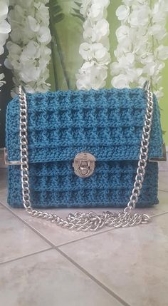 Πλεκτή Τσάντα Turquoise Handmade Bags, Chanel, Shoulder Bag, Turquoise, Crochet, Classic, Derby, Handmade Handbags, Shoulder Bags