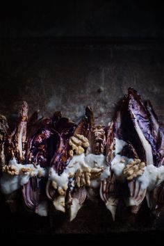 How To Make Tortilla Chips Grilled Radicchio With Cheese Fondue And Toasted Walnuts How To Make Tortillas, Buffet, Dark Food Photography, Smoothie Mix, Grilled Vegetables, Veggies, Love Eat, Side Salad, Healthy Appetizers