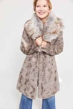 Unreal Fur Elixir Faux Fur Coat | Urban Outfitters Faux Fur Jacket, Fur Coat, Cute Lounge Outfits, Polyester Satin, Corduroy, Fitness Models, Urban Outfitters, Denim, Jackets