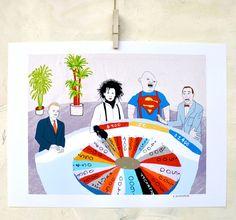 Illustration, Edward Scissorhands, Sloth, Goonies, Pee Wee Herman art, Wheel of Fortune, Fine Art Print on Paper, Movie lover art