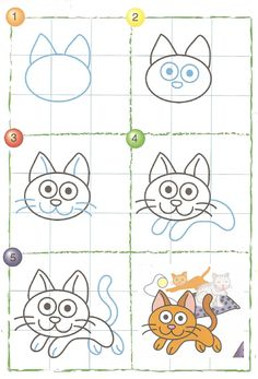 This cat tutorial is fun. Start with the normal cat face and then add some action! Basic Drawing, Drawing Lessons, Drawing Techniques, Art Lessons, Easy Drawings For Kids, Drawing For Kids, Art For Kids, Doodle Drawings, Doodle Art
