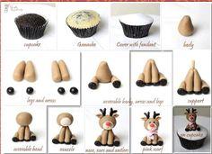Rudolph red nose reindeer cupcake
