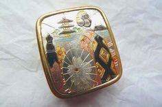 Vintage Music Box Pendant, Japanese Art Brass Music Box