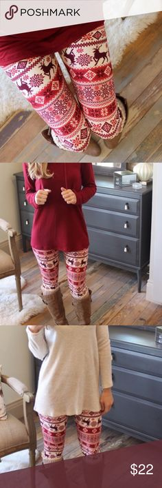 Burgundy holiday leggings Super soft holiday leggings. One size fits most. Bundle two or more items for a better discount! Pants Leggings