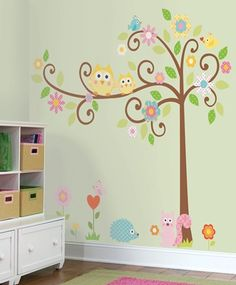 Owls Scroll Tree Wall Decals for Kids Rooms - Owl-themed Nursery - Owl Nursery Decor - Large Adhesive Owl Tree Wall Decals for Nursery, Kid's Room or a Playroom