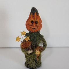 Pumpkin Doll Halloween Fall Decor Folk Art OOAK by llacreations