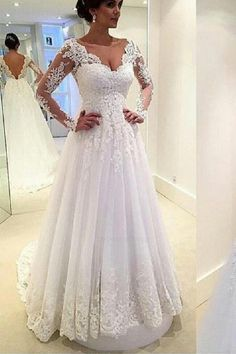 f1628b90715f2 Discount Luxurious Appliques Wedding Dress, V Neck Wedding Dress, Party  Dresses With Sleeves, White Wedding Dress