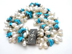 Turquoise-Pearl-Bracelet-Sterling-Silver-Nugget-Beads-Multi-Strand-Vintage