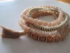 Bracelets – set of 4, tassel and boho style PEACH/GOLD **NEW – UK Seller – Boho