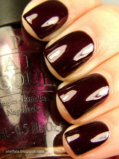 OPI Black Cherry Chutney Favorite nail polish ever! Get Nails, Love Nails, How To Do Nails, Pretty Nails, Hair And Nails, Opi Black Cherry Chutney, Black Cherry Opi, Essie, Opi Nail Polish