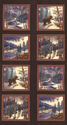 Moda Winter Forest Flannel 6600-19F Sable Panel 2/3 yd  designed by Holly Taylor