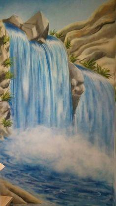 Waterfall, sprayed