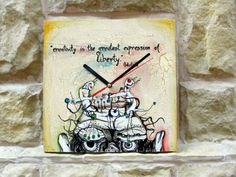 "Hand-painted wall clock. Ceas de perete ""Creativity"""