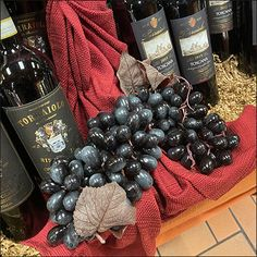 Fine-Wine Dark-Valiant Grape Propping Retail Fixtures, Wine And Spirits, Fine Wine, Visual Merchandising, Blackberry, Champagne, Alcohol, Fruit, Dark