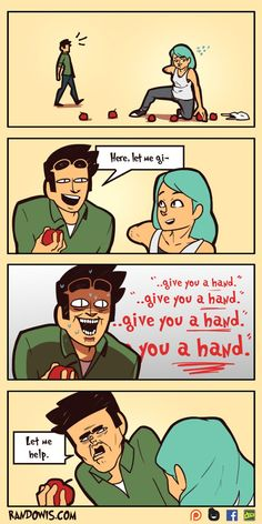 Some comics are so random that they become hilarious because of that. And that's exactly the case with RandoWis comics. The man behind the comics is Rando from Singapore. Stupid Funny, Haha Funny, Funny Cute, Funny Memes, Hilarious, Jokes, Funny Stuff, Randowis Comics, 4 Panel Life