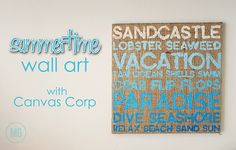 Midwestern Girl: Ombre summertime wall art on burlap canvas using scrapbook paper