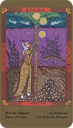 Three of Coins from the Kazanlar Tarot at TarotAdvice Tarot Reading, Tarot Decks, Tarot Cards, Art Gallery, Coins, Painting, Image, Tarot Card Decks, Art Museum