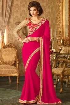 Pink and Beige Indian Designer Gold Border Party Wear Saree