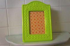 Neon green picture frame  ornate picture frame  by FramezCraze