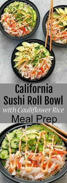 California Sushi Roll Bowls with Cauliflower Rice Meal Prep. Deconstructed California sushi rolls are served with low carb cauliflower sushi rice. Lunch Recipes, Seafood Recipes, Low Carb Recipes, Vegetarian Recipes, Cooking Recipes, Meal Prep Recipes, Lamb Recipes, Vegan Meals, Dinner Recipes
