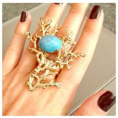 HPFaux Gold & Turquoise Coral Branch Ring Majorly statement. Worn just once. Slightly too big for me. I'd say this is a Size 7, with a stretchy band. Jewelry Rings