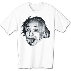 Albert Einstein STICKING TONGUE OUT Funny White T-shirt Medium