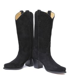 The Duchess of Cambridge's favourite boot now available in Black! Cowgirl Boots, Black Suede, Heels, Leather, Fashion, Heel, Moda, Fashion Styles, High Heel