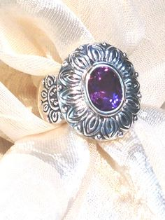 Alexandrite Flower Ring FULL Color Shift Purple to Blue by NorthCoastCottage, $139.00 #handmade #jewelry #etsy